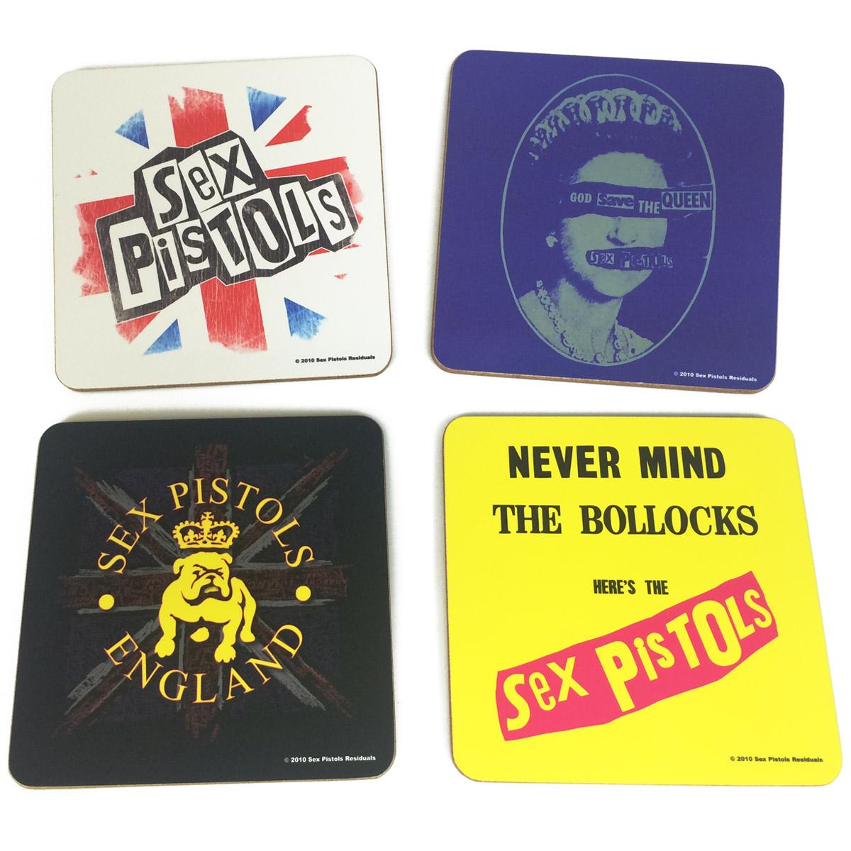 Conjunto com 4 Descansos Para Copos Sex Pistols