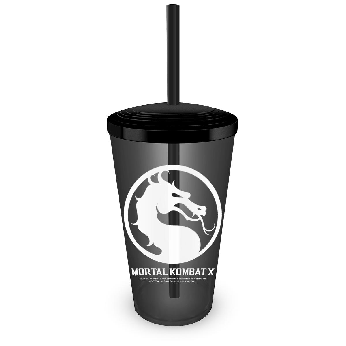 Copo Acrílico Fumê Mortal Kombat Logo
