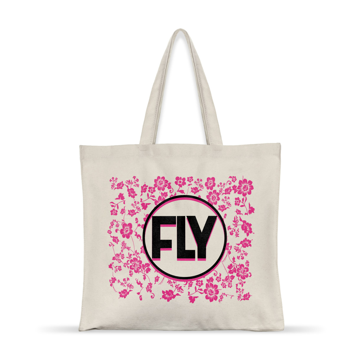 Ecobag Banda Fly Pink Flowers