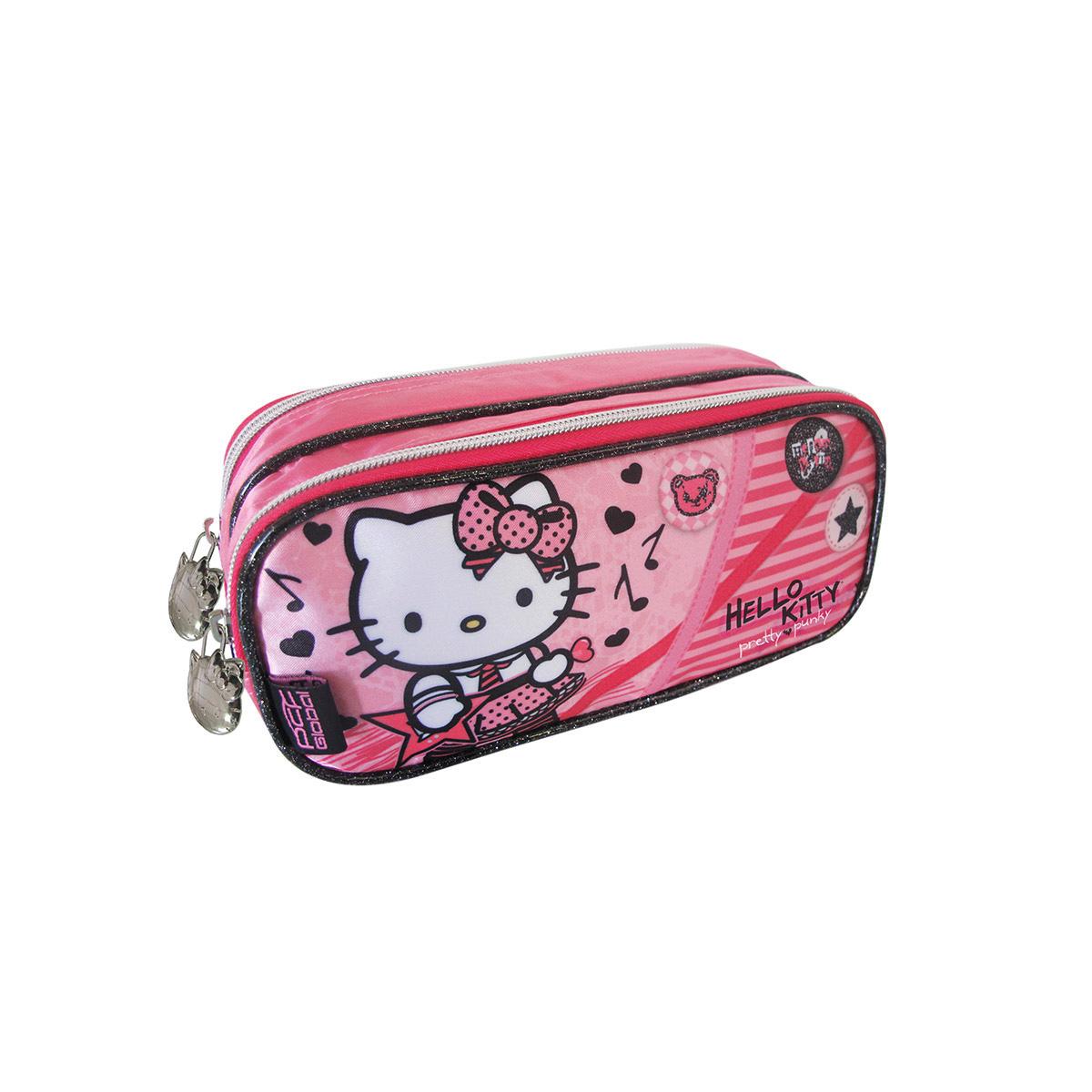 Estojo com Dois Compartimentos Hello Kitty Pretty Rock 924M14