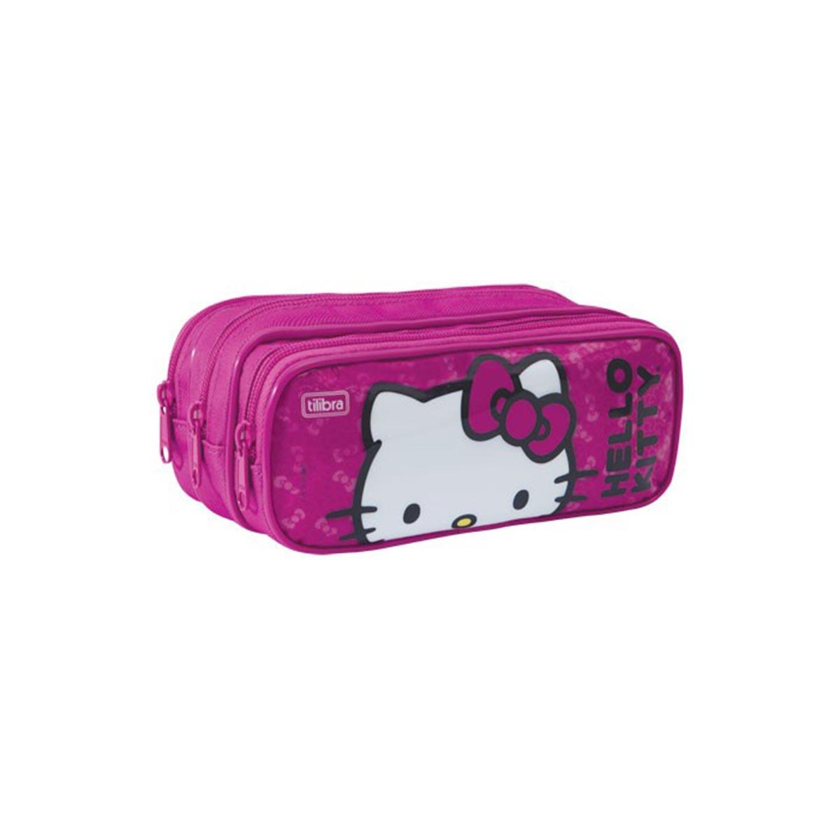 Estojo Triplo Hello Kitty Pink Face