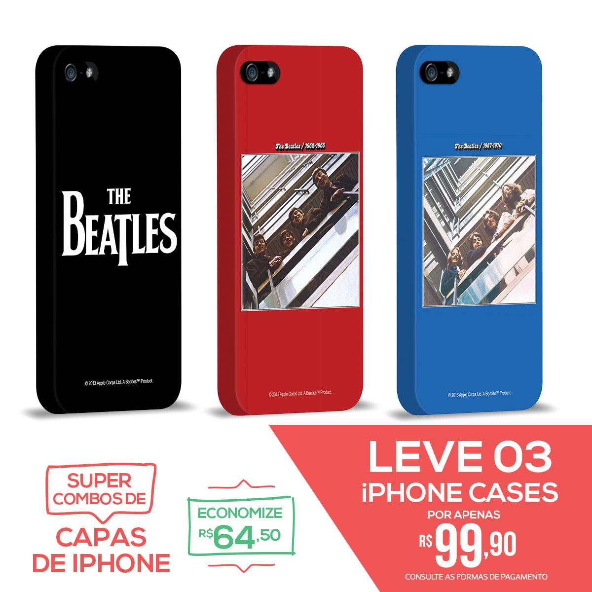 Kit Com 3 Capas de iPhone 5/5S The Beatles Coletâneas