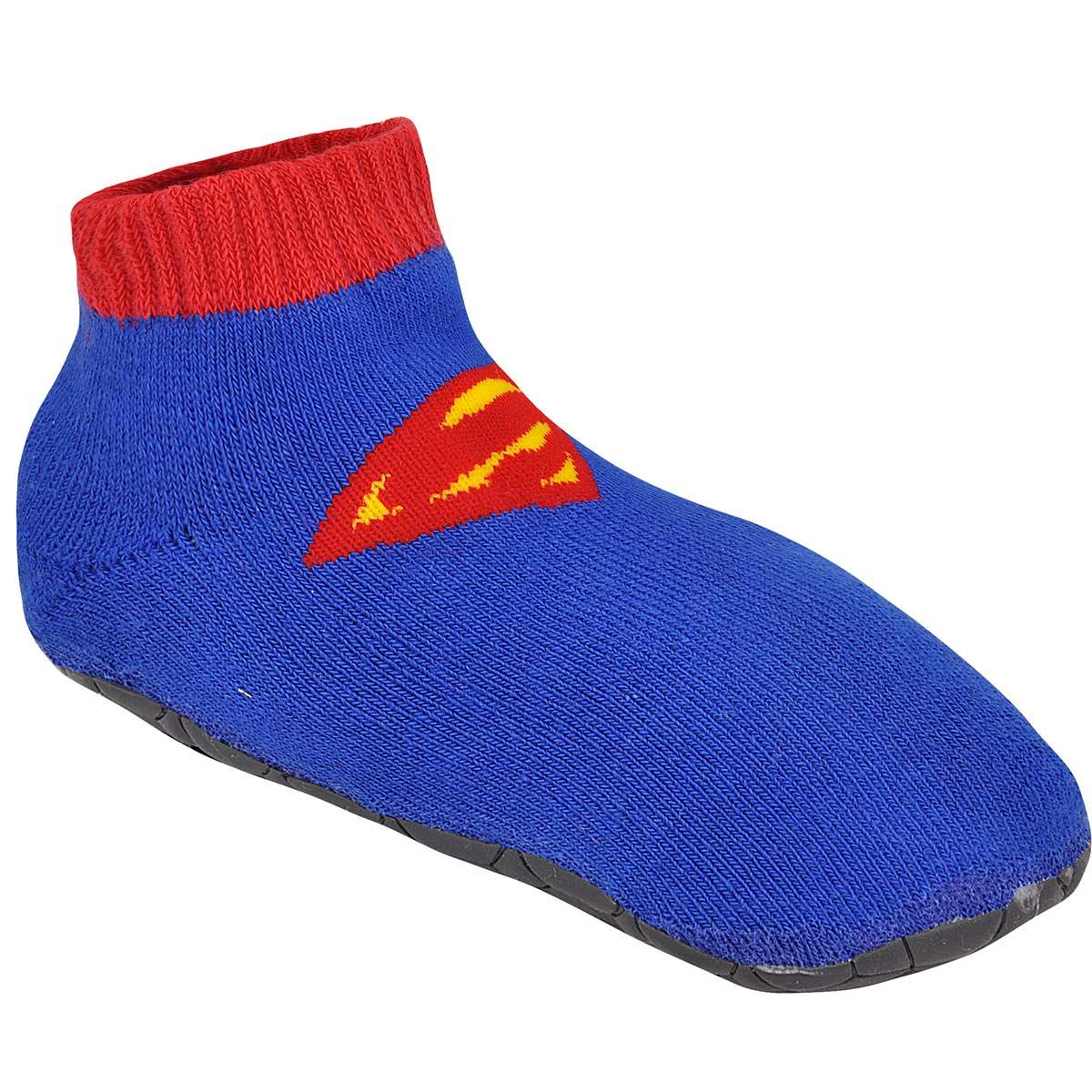Meia Antiderrapante Infantil Cano Alto Superman Logo