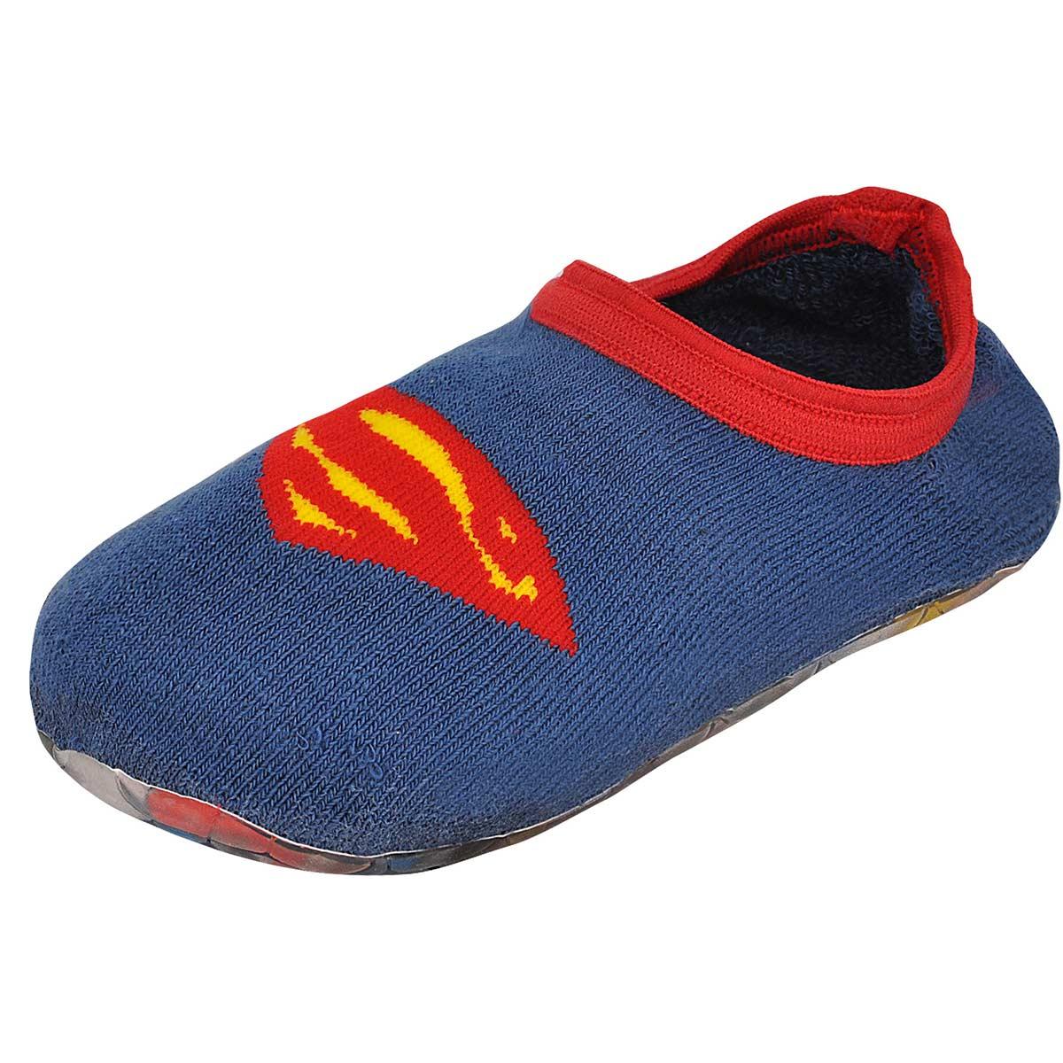 Meia Antiderrapante Infantil Cano Baixo Superman Logo
