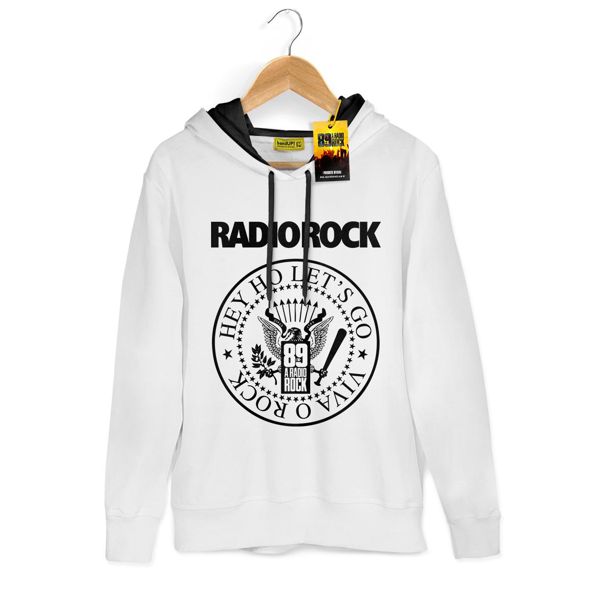 Moletom Com Capuz Preto 89 FM A Rádio Rock Hey Ho Viva o Rock!