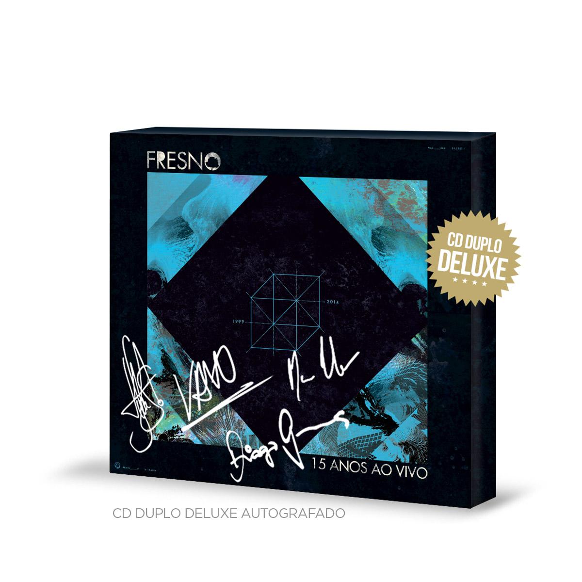 Combo Premium CD Duplo Fresno 15 Anos ao Vivo AUTOGRAFADO + Regata