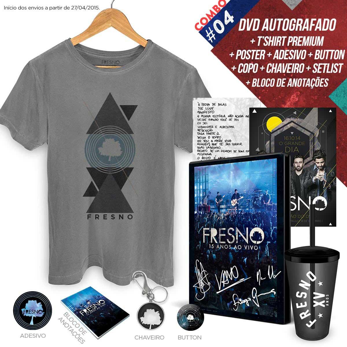 Combo Premium DVD Fresno 15 Anos ao Vivo + T-Shirt Masculina