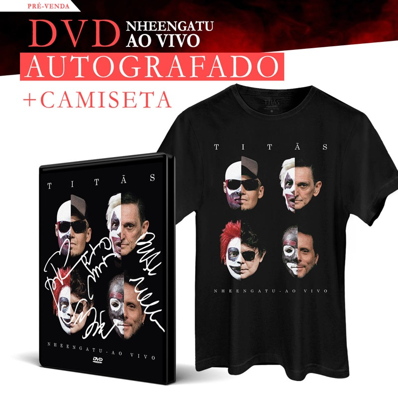 Pr�-venda Combo Tit�s DVD Nheengatu Ao Vivo AUTOGRAFADO + Camiseta Masculina