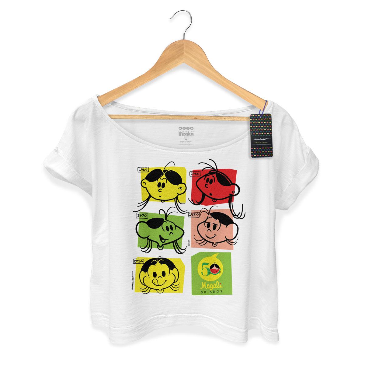 T-shirt Feminina Premium Magali 50 Anos Evolu��o Colors