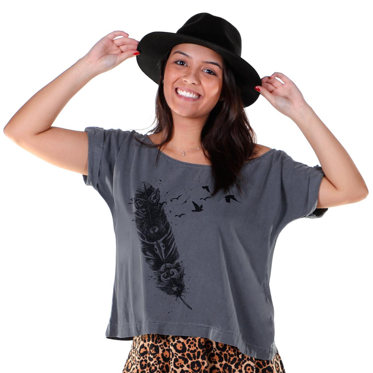T-shirt Premium Feminina Luan Santana Feather