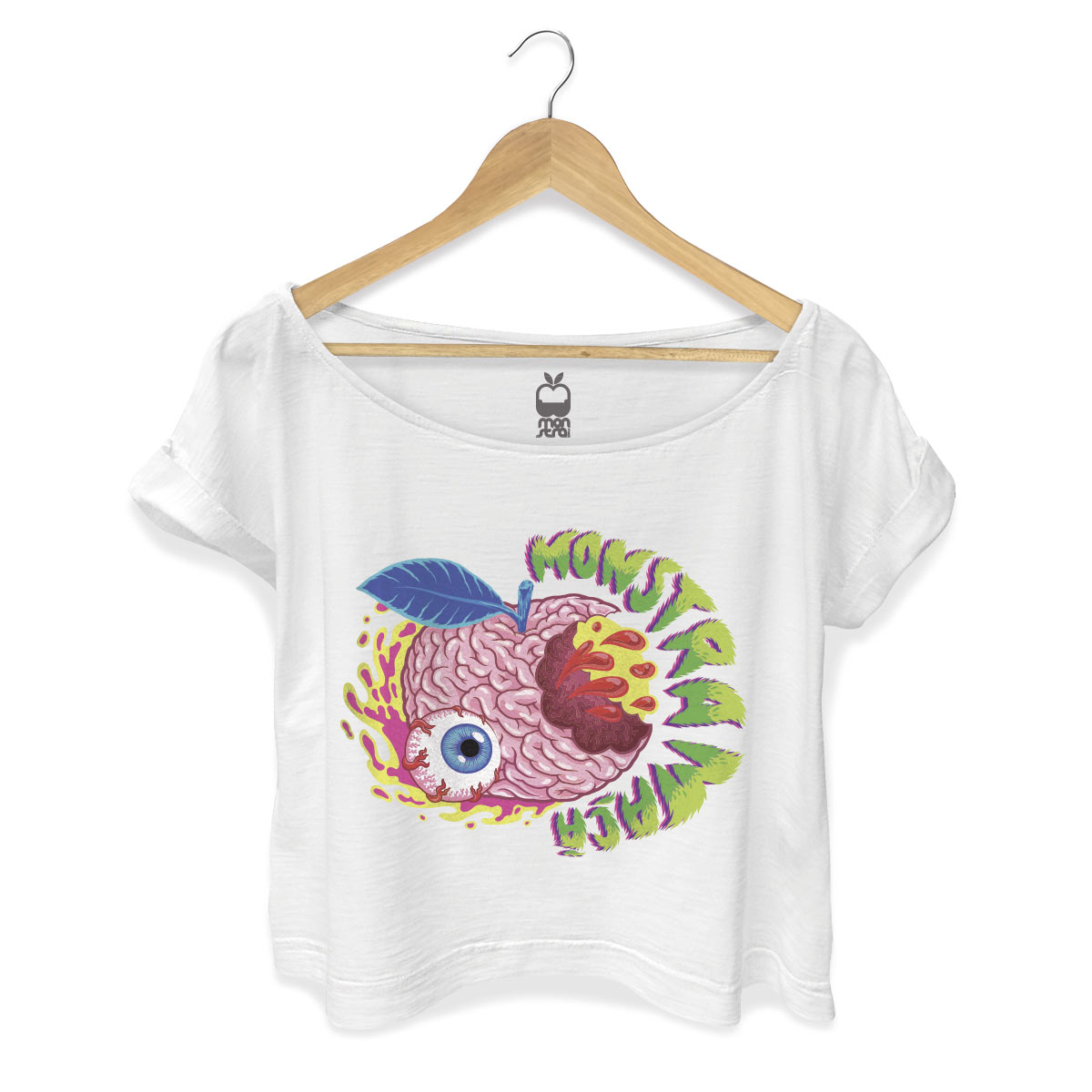 T-shirt Premium Feminina Monstra Maçã Cérebro