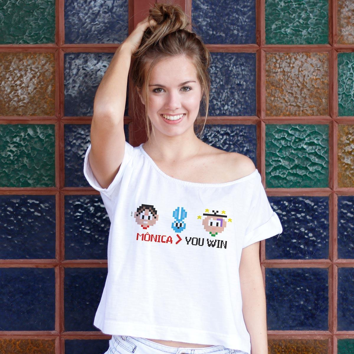 T-shirt Premium Feminina Turma da M�nica You Win