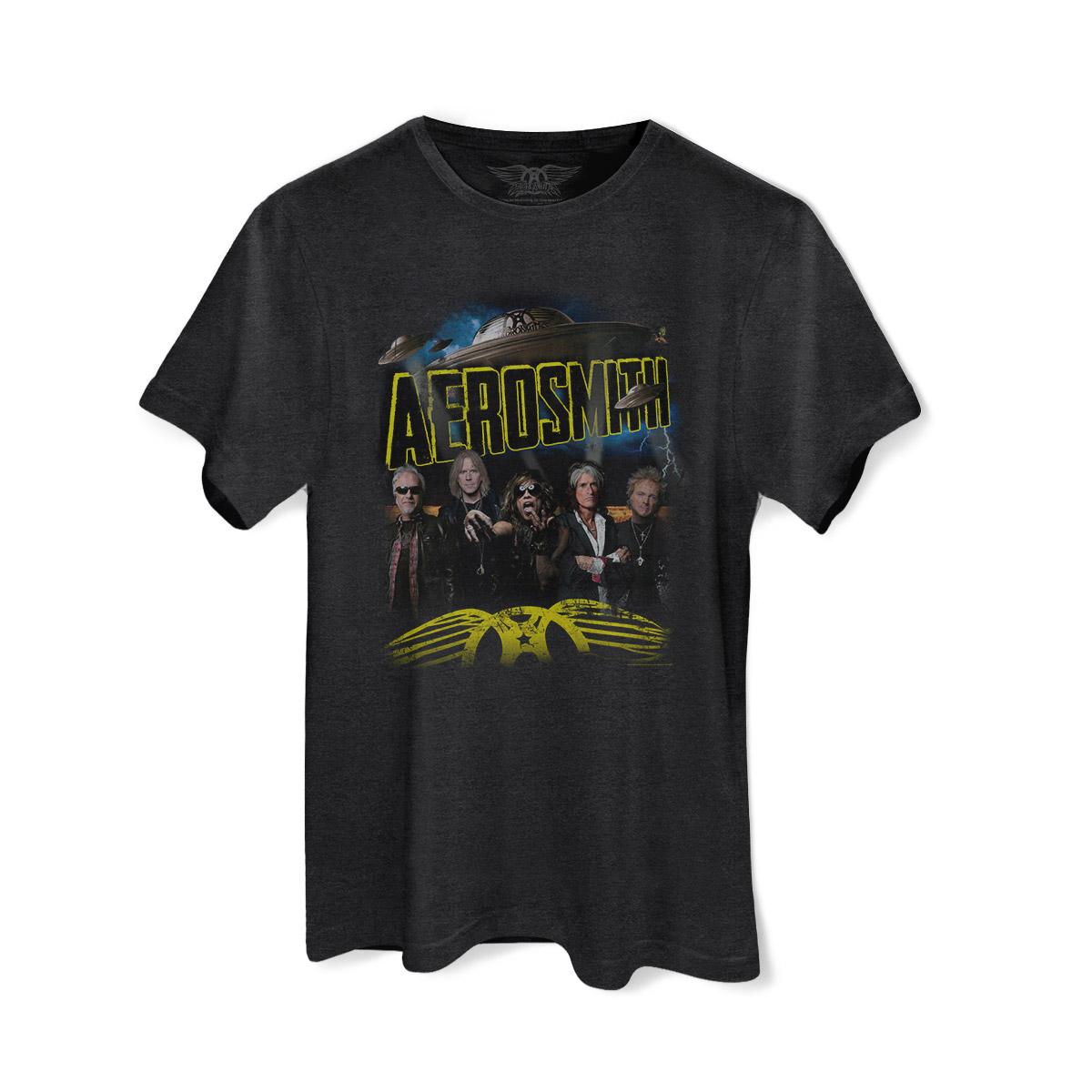 T-shirt Premium Masculina Aerosmith Global Warming Tour