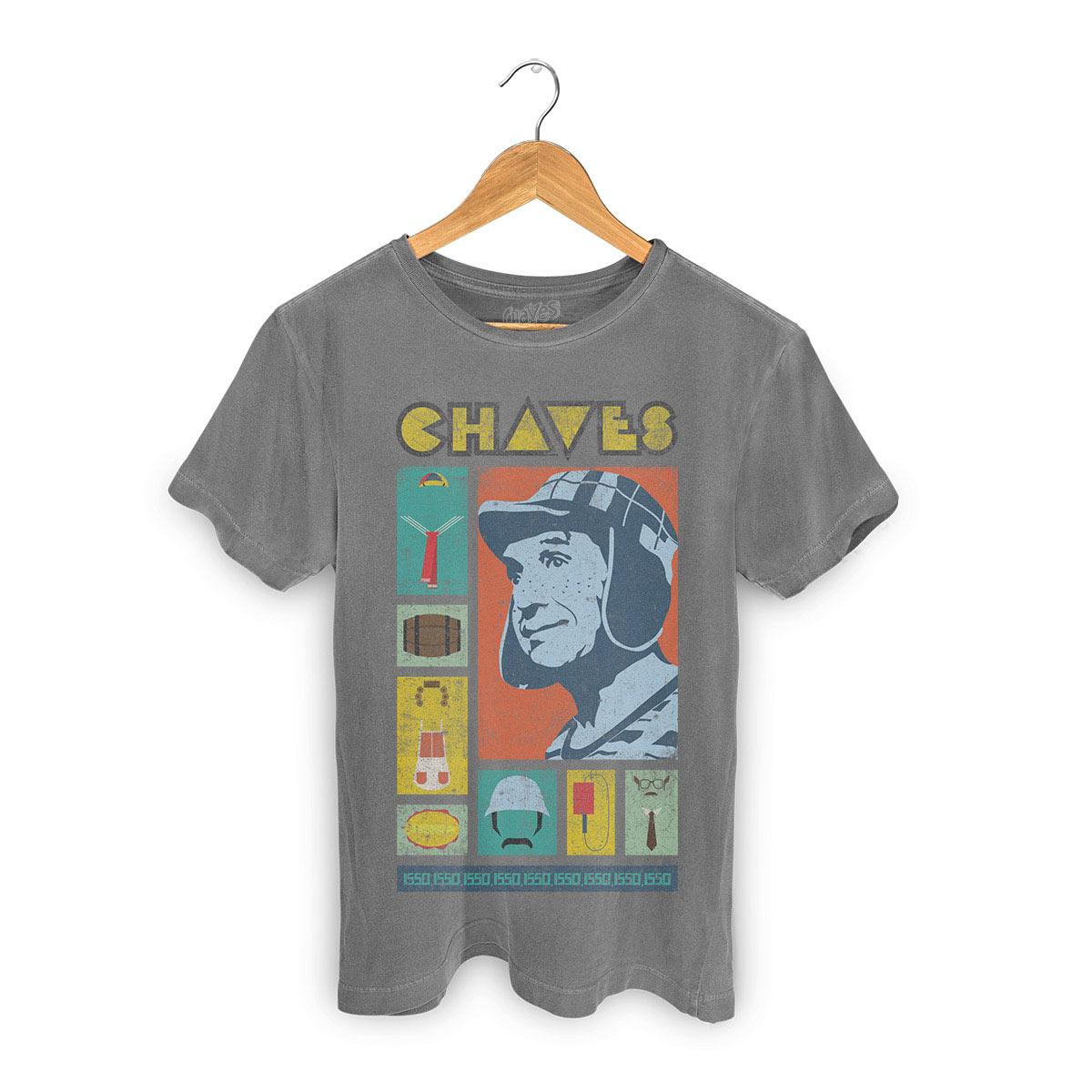 T-shirt Premium Masculina Chaves Ícones Retrô