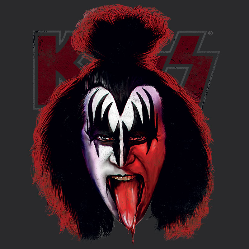 T-shirt Premium Masculina Kiss Gene Simmons Blood