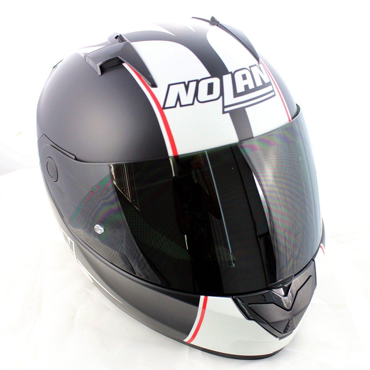 Capacete Nolan N64 MotoGP Flat Black c/ Branco - GANHE TOUCA BALACLAVA   - Planet Bike Shop Moto Acessórios