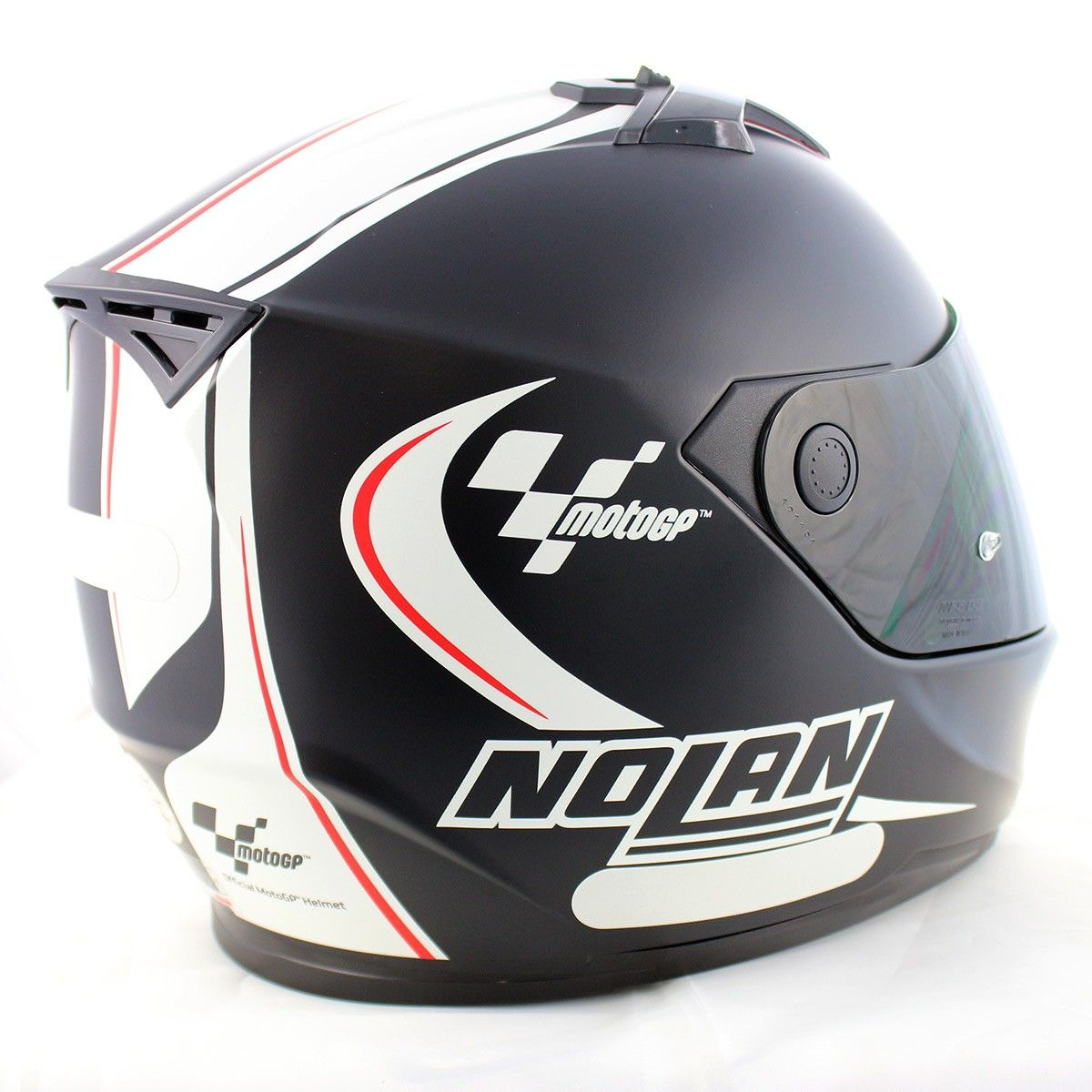 Capacete Nolan N64 MotoGP Flat Black c/ Branco   - Planet Bike Shop Moto Acessórios
