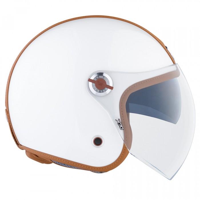 Capacete Nexx X70 Groovy Branco Camel Aberto   - Planet Bike Shop Moto Acessórios