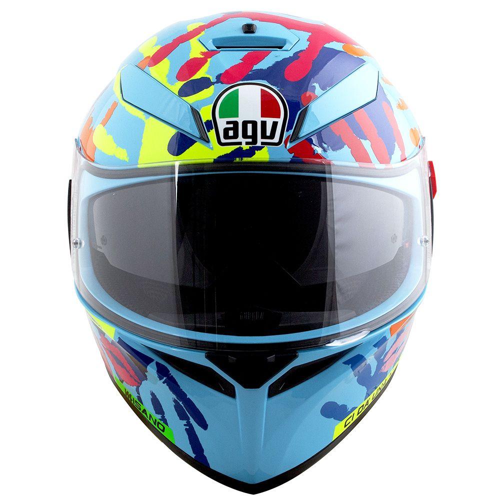Capacete AGV K-3 SV MISANO Hands 2014 Valentino Rossi C/ Viseira Interna Solar  - Planet Bike Shop Moto Acessórios