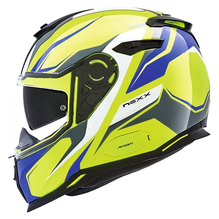 CAPACETE NEXX SX100 QUANTIC NEON/AMARELO/AZUL Com Viseira Solar - Mês do Motociclista