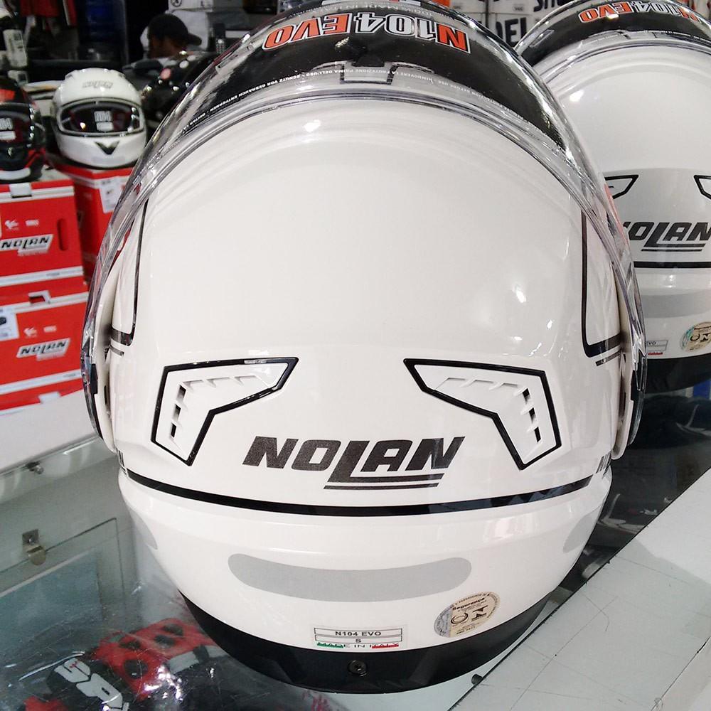 Capacete Nolan N104 Evo Storm METAL Branco Escamoteável  - Planet Bike Shop Moto Acessórios
