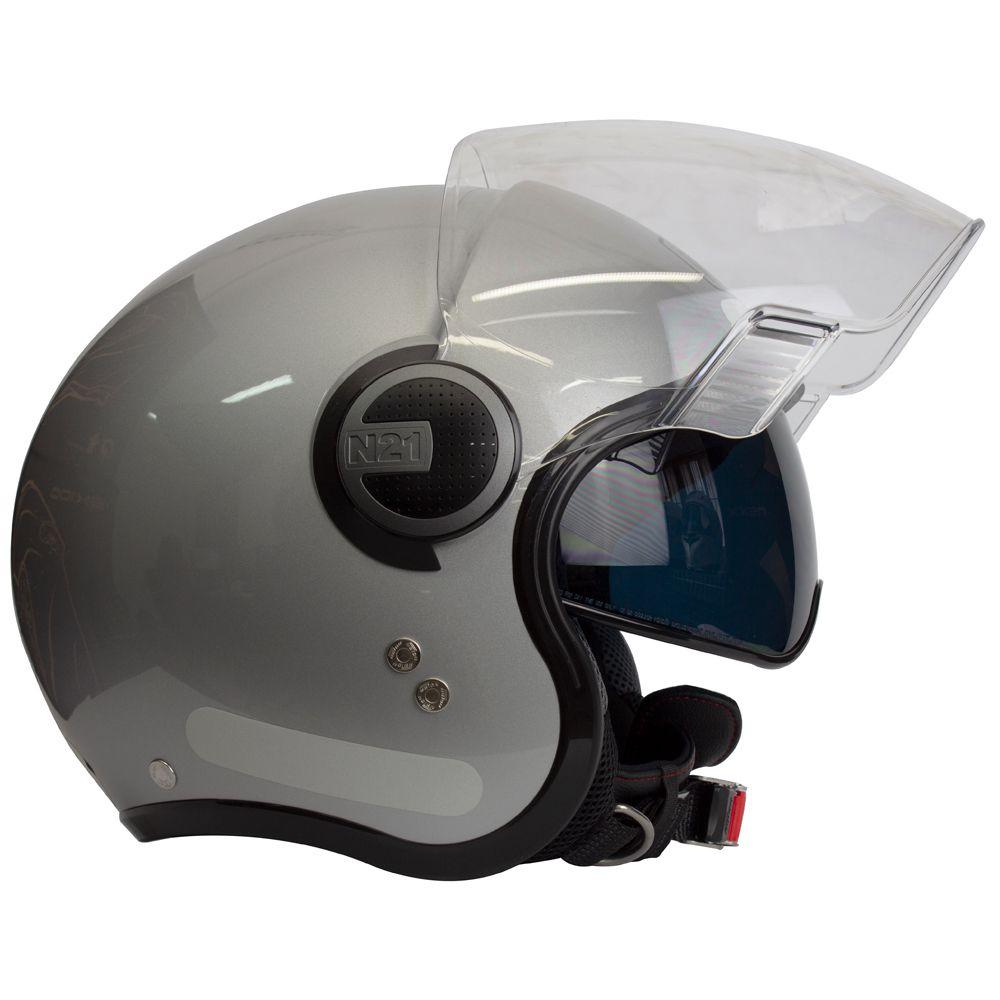 Capacete Nolan N21 Visor Classic Silver (Com Óculos Interno)  - Planet Bike Shop Moto Acessórios