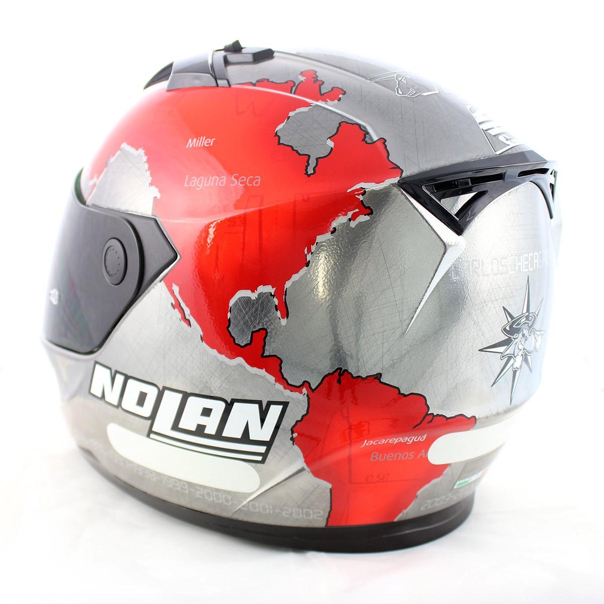 Capacete Nolan N64 Gemini Réplica C.Checca Scratched Chrome - GANHE VISEIRA FUMÊ - BLACK FRIDAY  - Planet Bike Shop Moto Acessórios