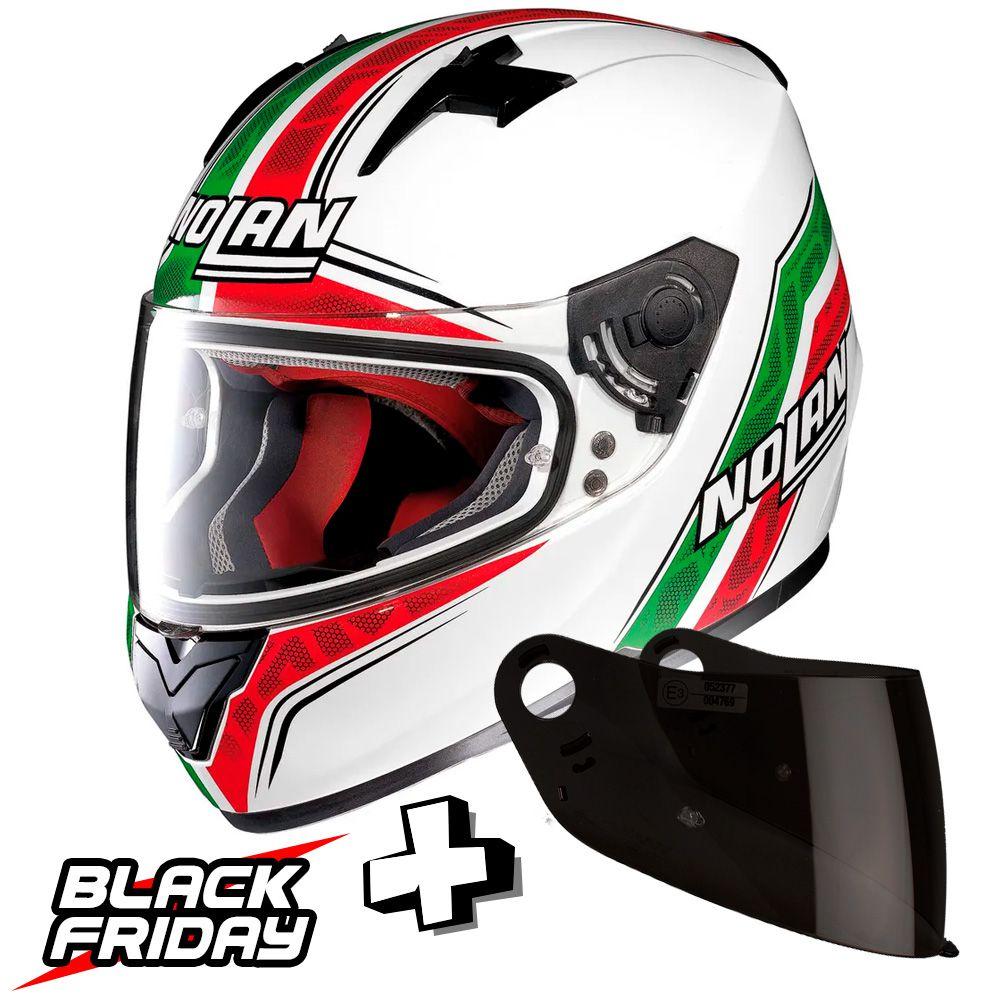 Capacete Nolan N64 Italy Metal White - GANHE VISEIRA FUMÊ - BLACK FRIDAY