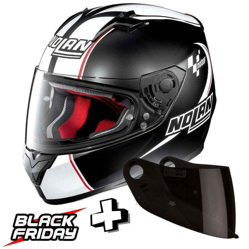 Capacete Nolan N64 MotoGP Flat Black c/ Branco - GANHE VISEIRA FUMÊ - BLACK FRIDAY