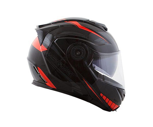 Capacete Norisk FF345 Route Motion Black/Orange (Articulado Com Viseira Solar Interna)  - Planet Bike Shop Moto Acessórios