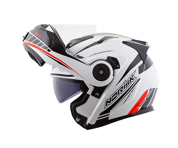 Capacete NoRisk FF345 Route Moution White/Black/Red (Articulado Com Viseira Solar Interna)