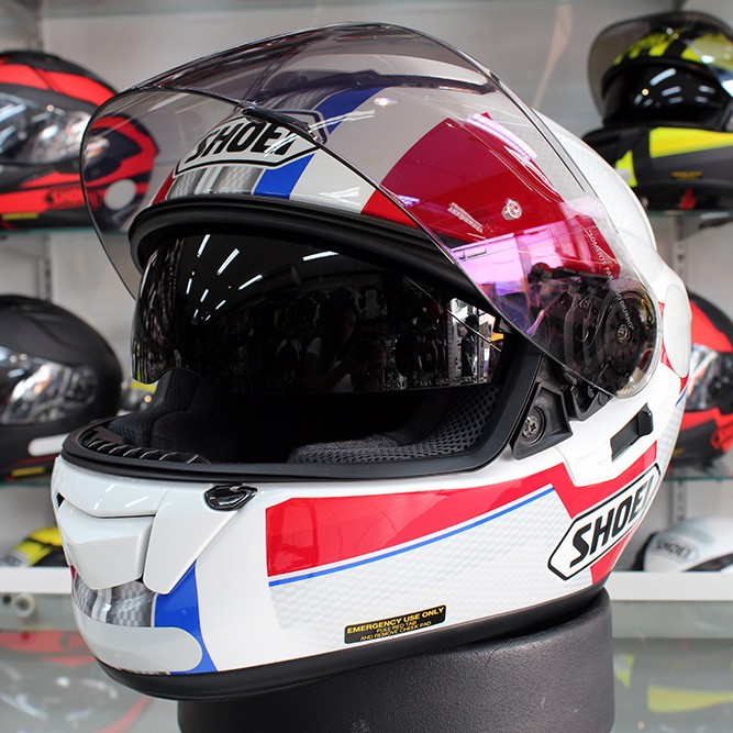 0 Capacete Shoei GT-Air Exposure Red/Blue TC10 com Pinlock e Viseira Solar