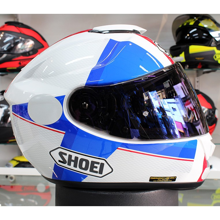 Capacete Shoei GT-Air Exposure Red/Blue TC-10   - Planet Bike Shop Moto Acessórios