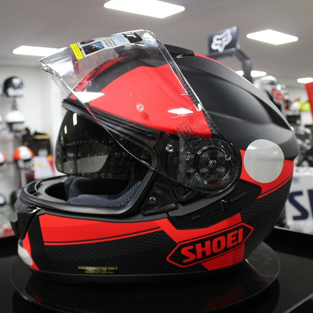 Capacete Shoei GT-Air Exposure TC1 Black/Red com Pinlock e Viseira Solar  - Planet Bike Shop Moto Acessórios