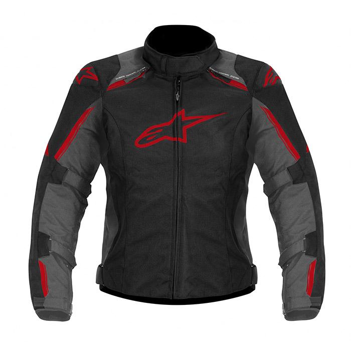 Jaqueta Alpinestars Stella Caladan WP (Cinza Vermelho/ Feminina/ Impermeável)  - Planet Bike Shop Moto Acessórios