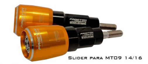 Slider Procton com Amortecimento Yamaha MT09 - 14/16  - Planet Bike Shop Moto Acessórios