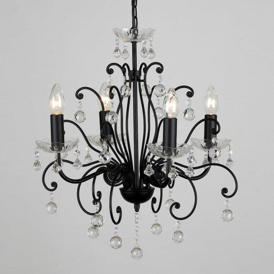 Lustre Sala Pendente Candelabro 4 Lâmpadas Preto Transparente Acrílico