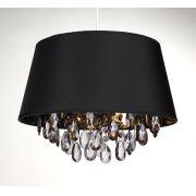 Lustre Sala Pendente Tecido Preto e Dourado + Lampada LED 110v