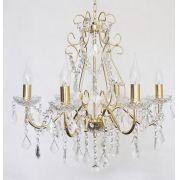Lustre Sala Pendente Candelabro Dourado 6 Braços Acrílico + Lampadas LED