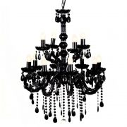 Lustre Sala Pendente Candelabro Para 12 Lâmpadas Preto Acrílico + Lampadas LED