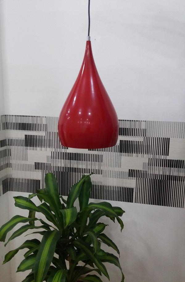 Lustre Pendente de Mesa de Ferro Pintado em Vermelho