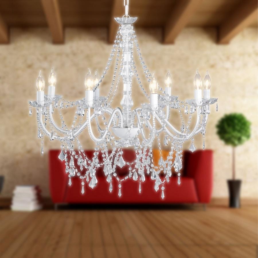 Lustre Sala Pendente Candelabro Transparente 8 Braços Acrilico