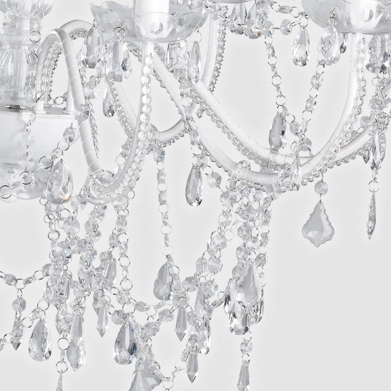 Lustre Sala Pendente Candelabro Transparente 8 Lampadas Acrilico + Lampadas LED