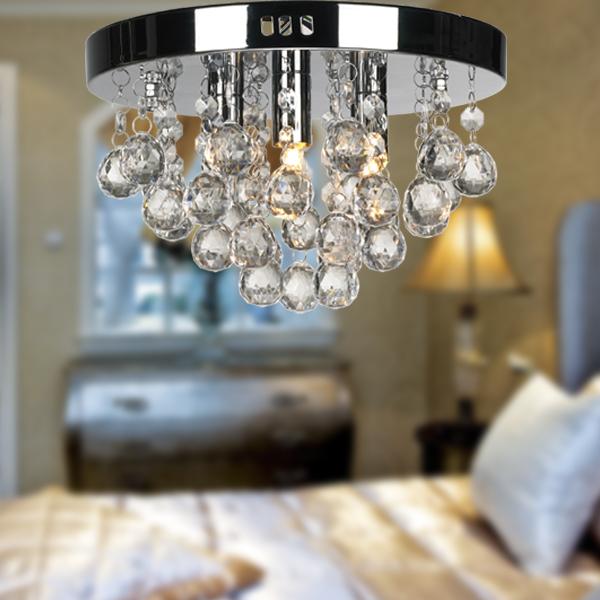 Lustre Sala Pendente Cromado Teto Circular + Lampadas LED 110v
