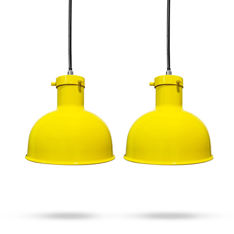 Kit 2 Lustres Pendente em Ferro Amarelo
