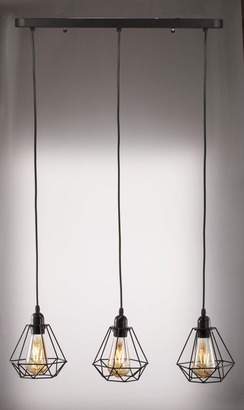Lustre Pendente Triplo Luminária Aramado Preto
