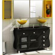 Gabinete em MDF com 2 Cubas para Banheiro - Armário Ometiza