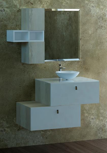 Móvel 5  Gabinete de Banheiro MDF com Vidro  Gamboa -> Gabinete De Banheiro Vidro