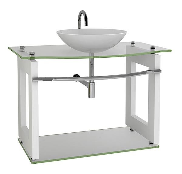 Móvel 5  Gabinete de Vidro com MDF para Banheiro  Armário Carolina -> Gabinete De Banheiro Vidro