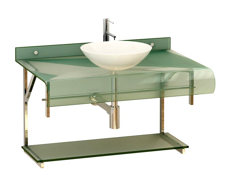 Móvel 5  Gabinete de Vidro para Banheiro com Cuba  Lounge -> Gabinete De Banheiro Vidro